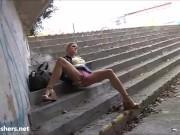 Blonde flashing Binas public nudity and teen exhibitionist babes voyeur