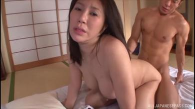 Sexy thick Japanese mature slut getting her hairy pussy nailed doggy style