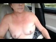 Sexy UK MILF does topless challeng in car