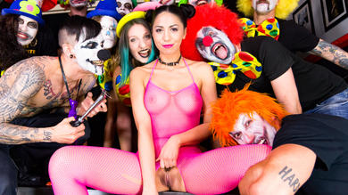 Romanian cutie Julia De Lucia bound, tortured and fucked in clown group