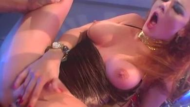Seductive busty redhead bitch takes rough face and anal pounding