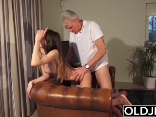 Old and Young Porn - Babysitter pussy fucked by old man and swallows cum