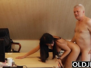 Young Old Boss Fucks Secretary Teen Pussy fucks her and facial cumshot