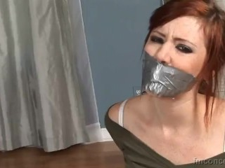 Hot redhead lesbian tape tied and gagged
