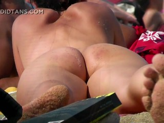Busty big boob blonde naked with shaved pussy on the nude beach in public!