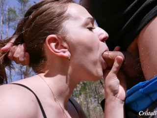 MILF Deepthroat Cock in Public and Swallow Closeup - Cristall Gloss