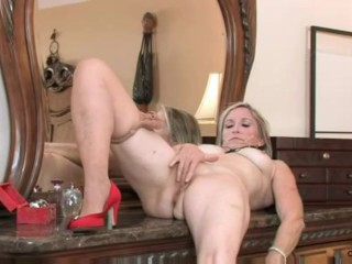 lovely gilf Annabelle Brady strips and masturbates in tights