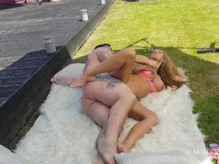 Big dick tattooed stud Seth fucks big tits blonde Stacey Saran outdoors