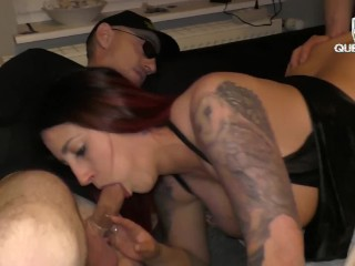 Amateur sexy slut wife gangbang foursome husband filming