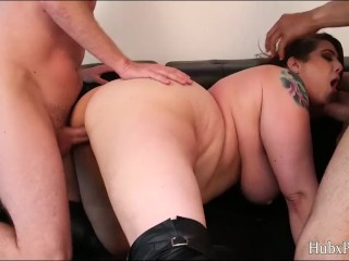Big tits angel anne and two big cock