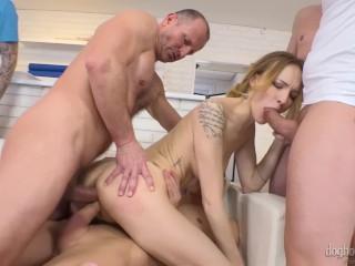 Blonde Double Penetration multiple creampie