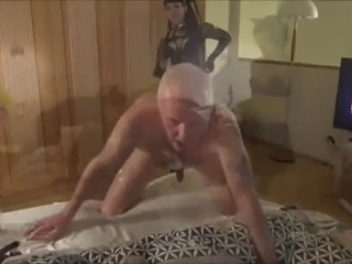2 mistress fingering and domina guy in ass with gloves and strapon