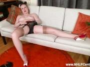 Blonde Satine Spark strips retro lingerie masturbates in red heels nylons