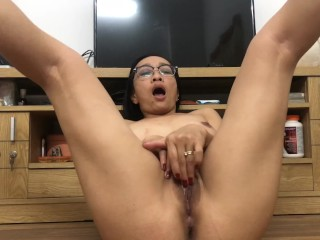 Horny Asian Mom Plays With Her Pussy