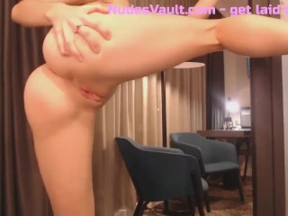 Horny babe Miss Alice plays with her perfect pussy
