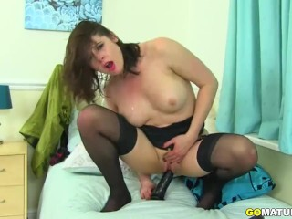 British hot MILF Karina Currie playing with herself