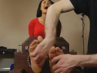 UK Tickling-Kelly Carter: Office Girl Tickled in the Double Stocks