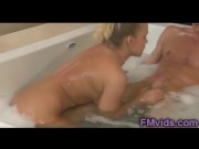 Britney Young with horny guy under shower