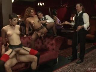 Lily Labeau and new slavegirl Savannah Fox at a BDSM party