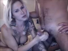 Blonde Tattoed Tranny Getting Ass Fucked By Boyfriend