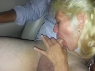 Horny Blonde Milf Wife With Big Fake Tits Gives Head To Husbands Friends
