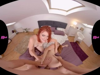 18VR Threesome With Redhead Teen Lesbians Charlie Red And Vanessa Shelby