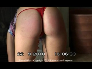 Teen Alison Miller Spanked Red Thong (2013)