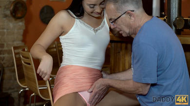VIP4k. Horny chick cheats on her boyfriend with his mature father