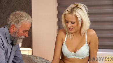 Young blonde spread legs for horny old man