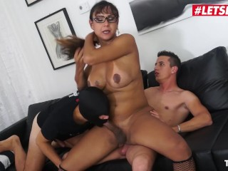 LETSDOEIT - Busty Hot Tranny Ass Fucked By Two Horny Teens