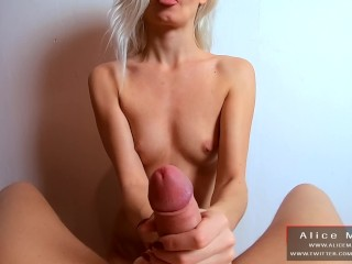 POV Handjob With Big Cumshot on Hand! Teen, Big Cock, Blonde! | Alice Margo