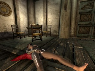 Skyrim - Red-Haired Gagged Fox Girl plays with herself in a tavern