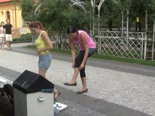 2 sexy girls lift carry in public park part 1