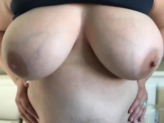 Horny MILF shakes huge tits for you to cum to